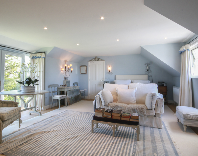 The spacious master bedroom at Cannon Heath has an en-suite shower room and Juliet balcony.