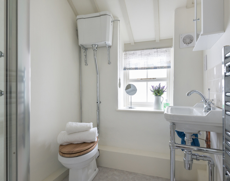 The newly decorated shower room on the first floor at The Bakehouse, a holiday home for two people to rent in Port Isaac, North Cornwall