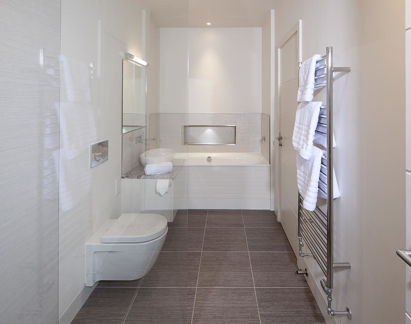 A stylish family bathroom in luxury self catering house Mordros close to the sea in North Cornwall.