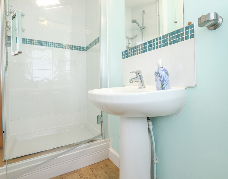 The bright shower room at Tresawl, a holiday rental at Epphaven near Lundy Bay and Polzeath in Cornwall.