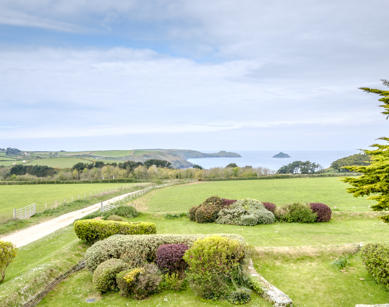 Pretty rural views down to the stunning coastline above Epphaven near Polzeath in Cornwall.