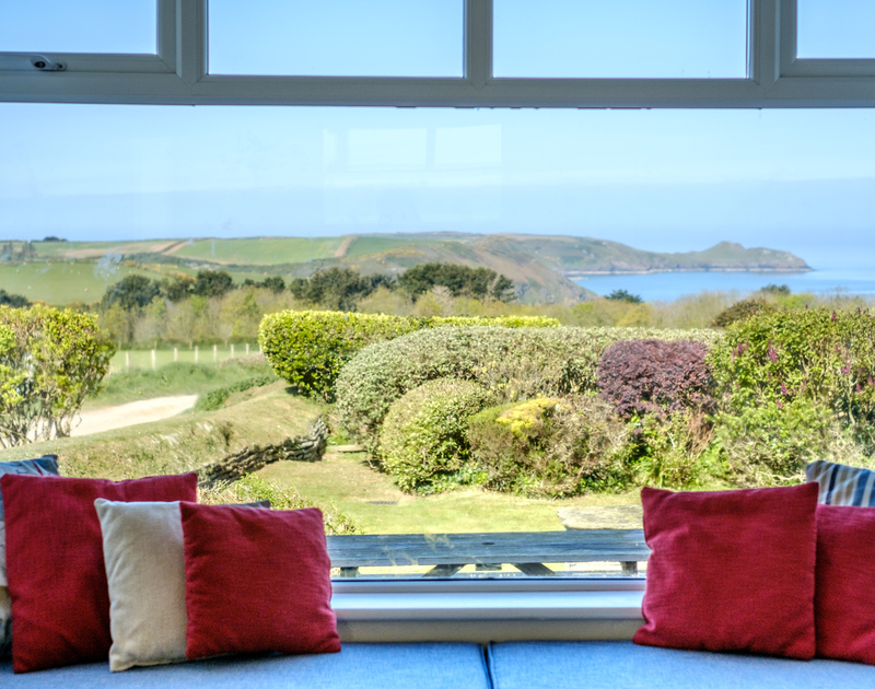 The beautiful views over Epphaven from the window seat at Tresawl.
