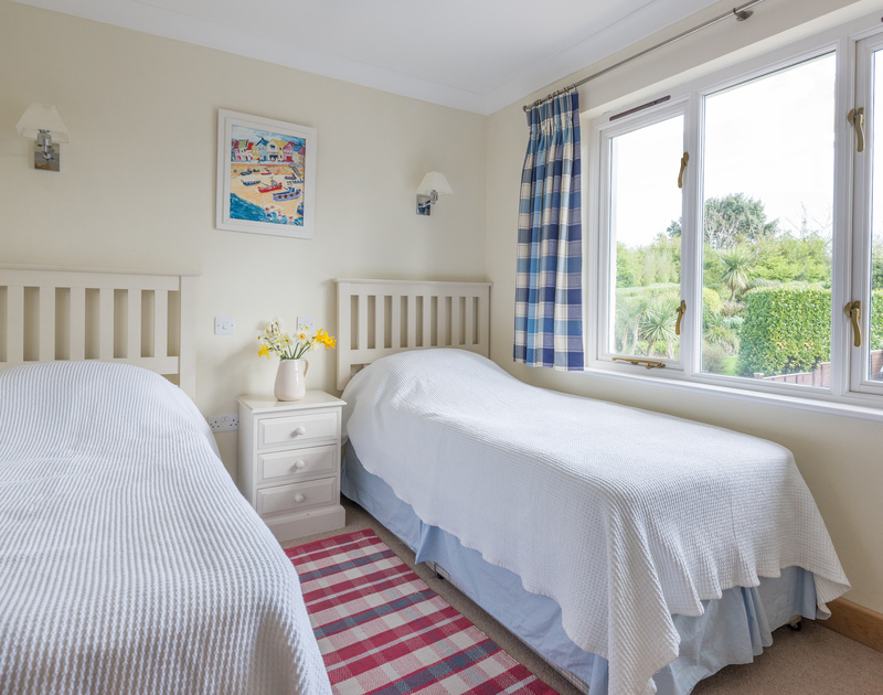 First floor twin bedroom at Ragleighs, a large holiday house to rent at Daymer Bay
