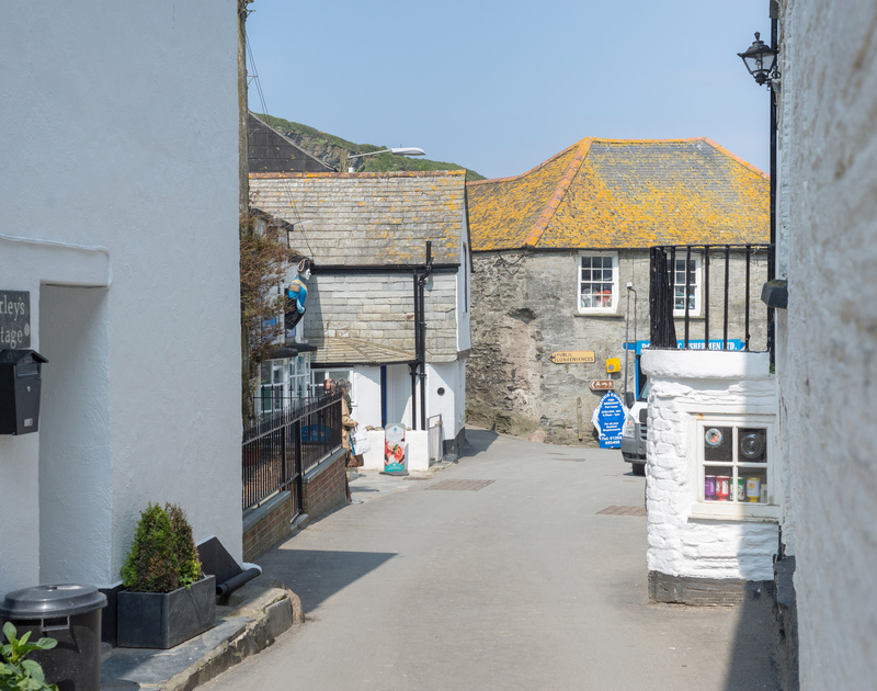 The entrance onto the charming, winding street outside Morleys Cottage in picturesque Port Isaac in North Cornwall.