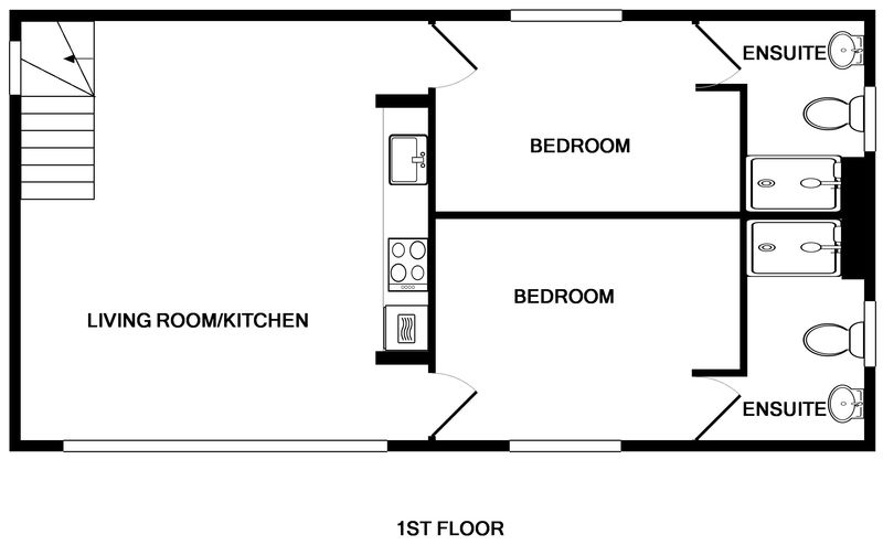 The first floor plan for White Star, a self catering, holiday house to rent in Rock, Cornwall.