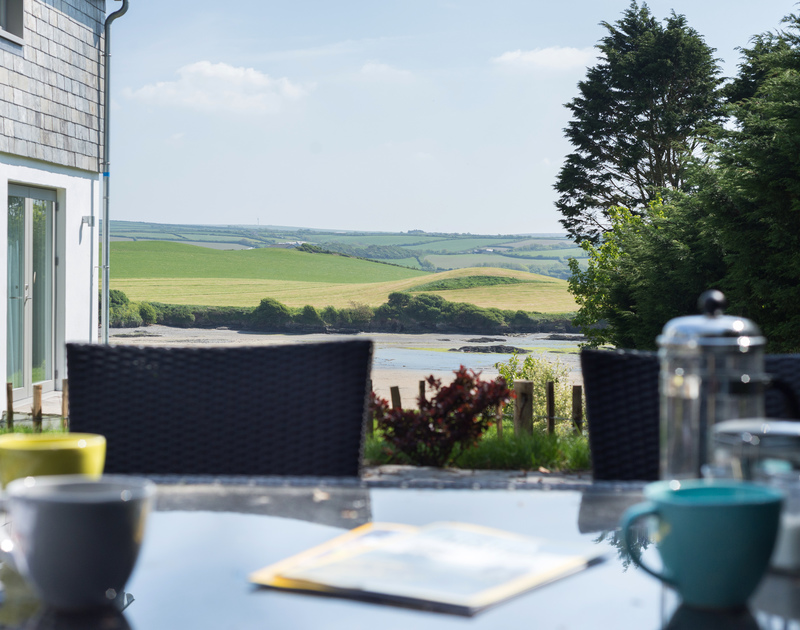 Imagine having a sunny lunch on the South facing patio of Tregye, Porthilly at Rock, Cornwall