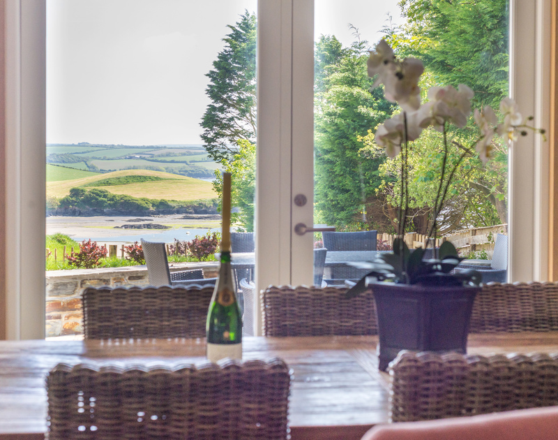 Imagine having breakfast lunch and supper with this wonderful estuary view from the dining table of Tregye, Porthilly at Rock, Cornwall
