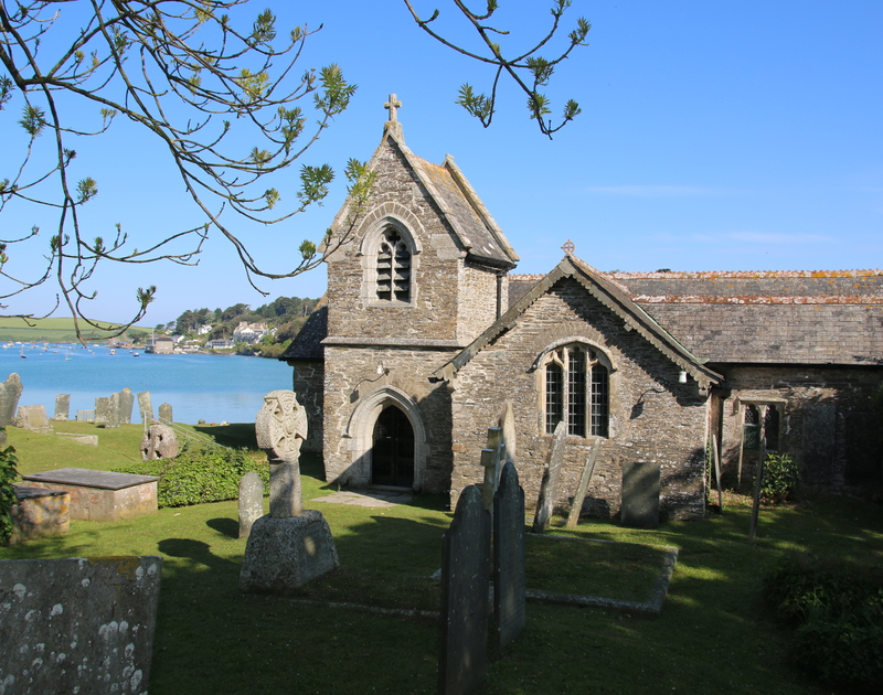 St Michaels Church overlooking the estuary at Porthilly Cove, Rock Cornwall