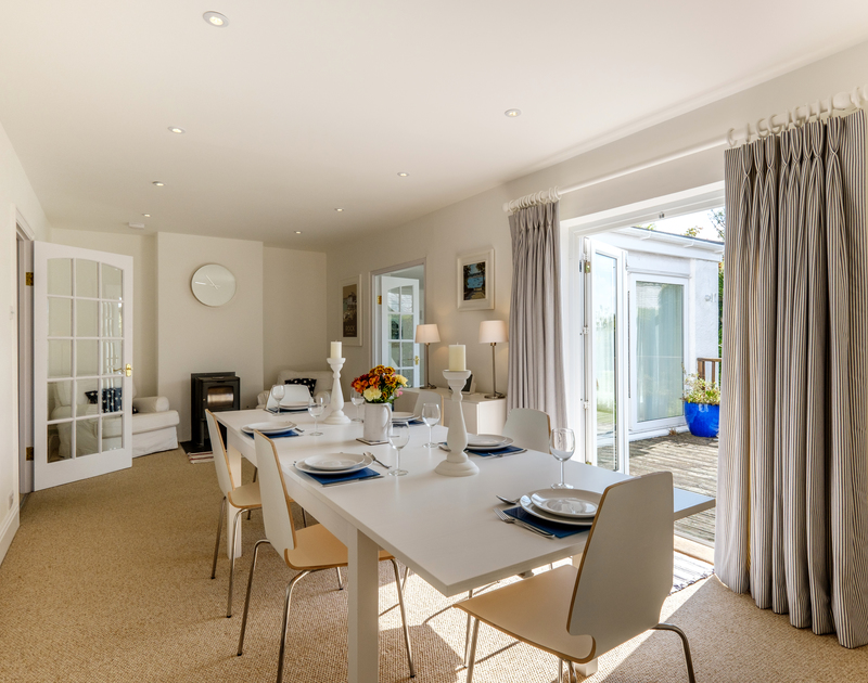 From the dining room at The Moorings in Rock, you can easily access the terrace and garden