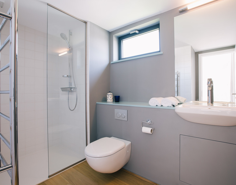 The contemporary master ensuite shower room at White Star - a holiday house to rent in Rock, Cornwall