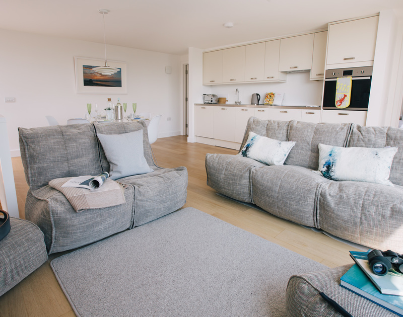 The elegant and comfortable living area at White Star offers some of the best views of the Camel estuary