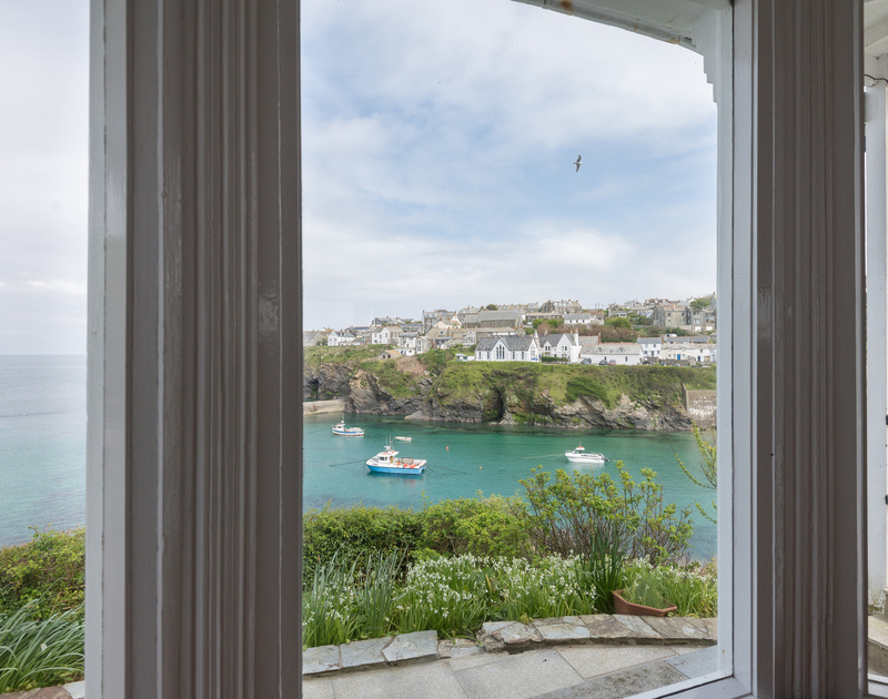 Wonderful views from Northcliffe Garden Flat of Port Isaac's harbour and the sea beyond