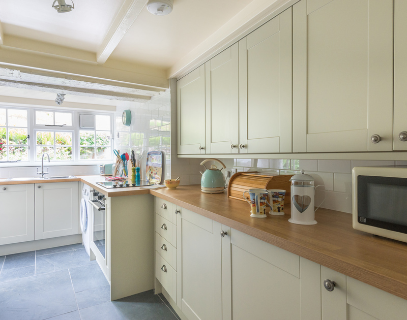 Plenty of space to prepare family meals in the newly renovated kitchen at Poplar, a self catering holiday cottage in the heart of Port Isaac.