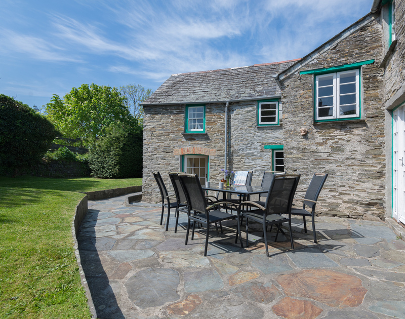 South facing terrace of Porthilly Greys, lovely for an al fresco lunch or brunch with adjoining lawns