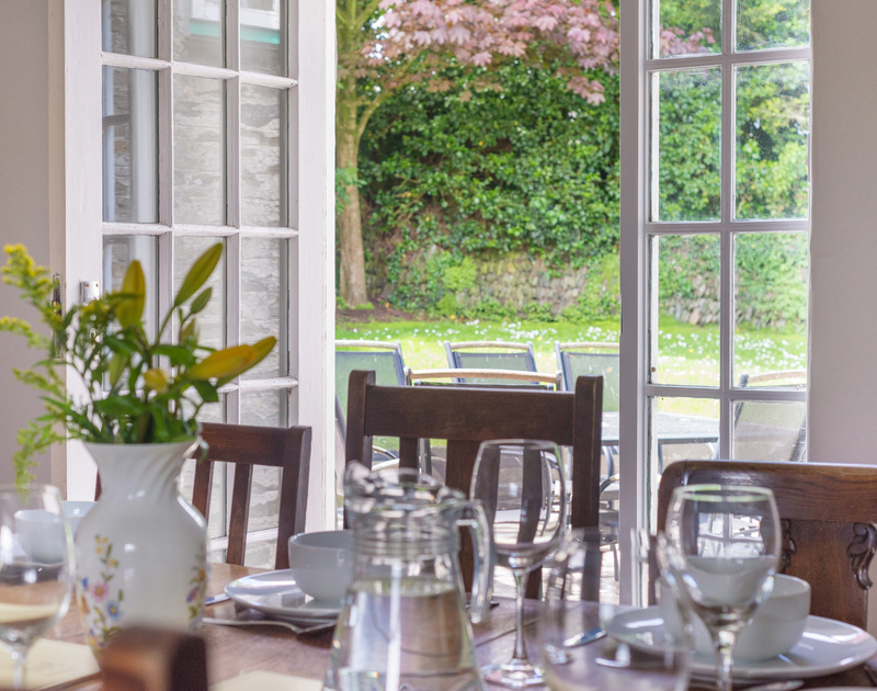 If the weather allows, enjoy a meal outside on the terrace of Porthilly Greys