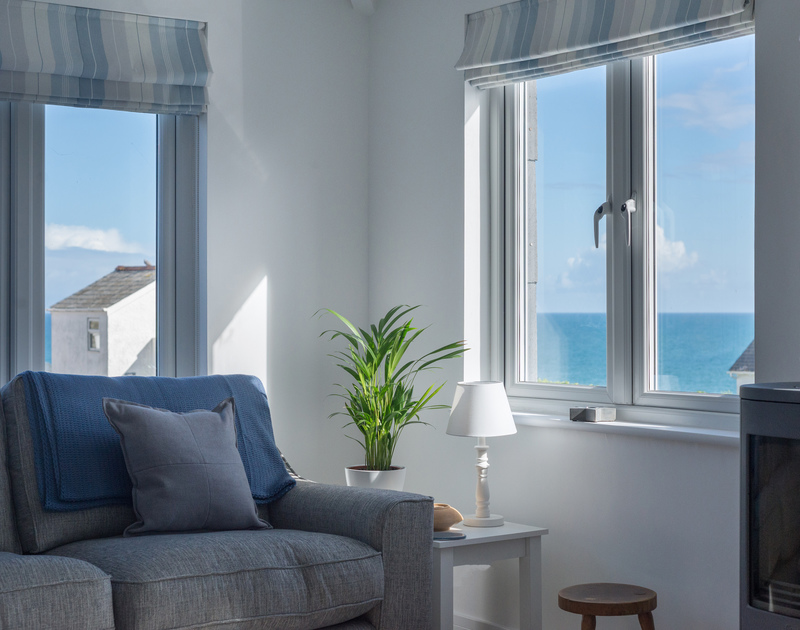 Beautiful light and sea views that almost fill the windows at self catering holiday property Pendragon House in Port Isaac, North Cornwall.