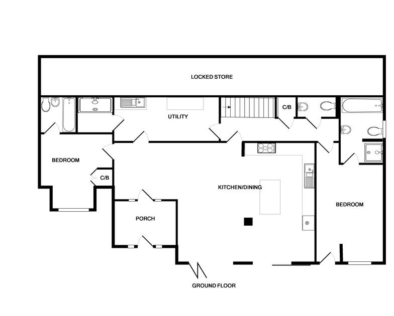 The plans for the ground floor of Greywings, a holiday rental in Rock, North Cornwall.