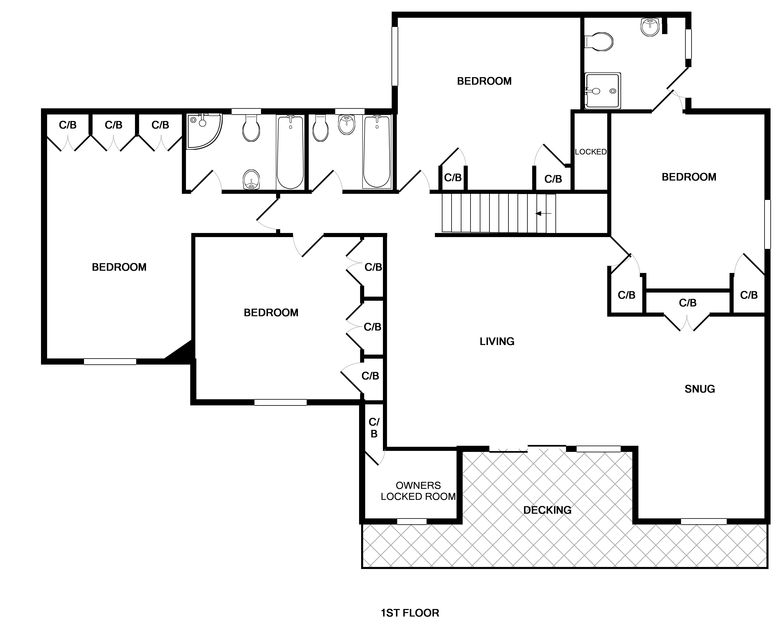 The floorplan for the first floor of Greywings in Rock, North Cornwall.