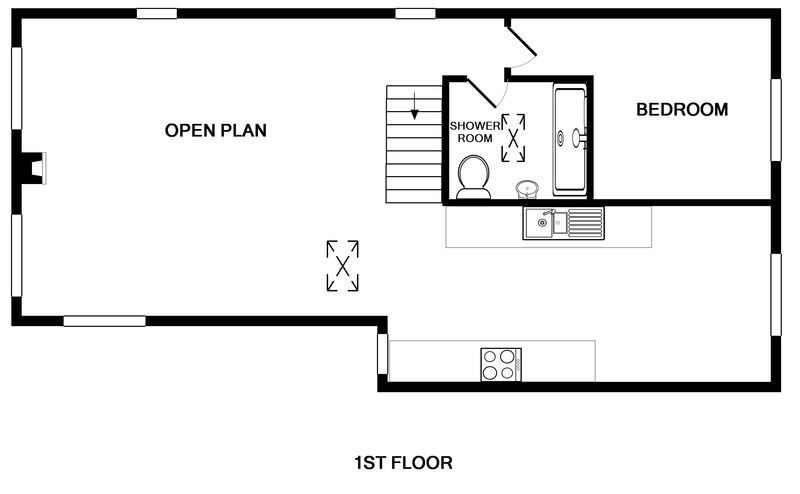The first floor plans for Pendragon House, a self catering holiday property in Port Isaac, North Cornwall.