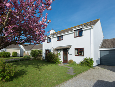 The exterior of Hazelhurst, an attractive white painted holiday cottage with front lawn and ornamental cherry tree.