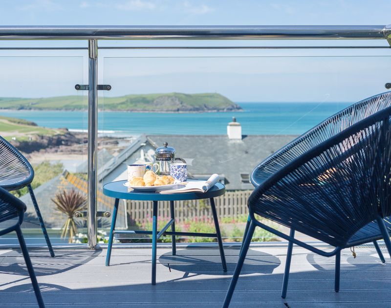 Seaviews from the first floor balcony of Bryher, a seaside holiday house in Polzeath, Cornwall