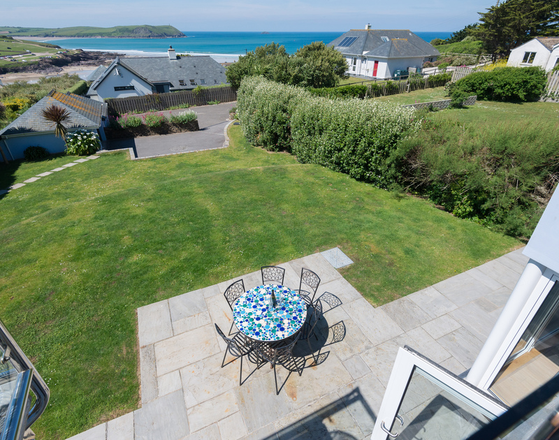 Bryher's west facing lawned garden and terrace, as seen from the first floor balcony