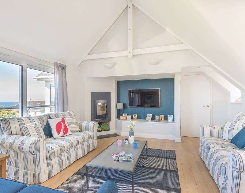 Enjoy a wonderful sense of space in Bryher's sitting area, with its vaulted ceiling and huge windows