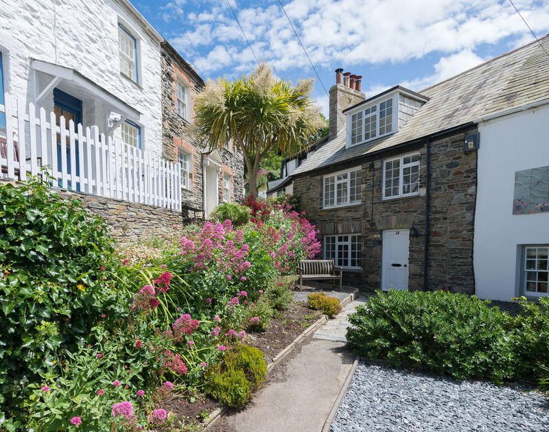 The pretty front garden and exterior of newly renovated Poplar Cottage situated along Dolphin Street in Port Isaac.