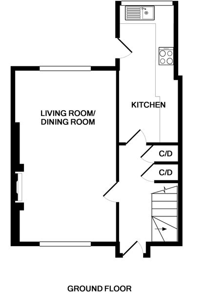 The ground floorplans for self catering holiday house Poplar in Port Isaac.