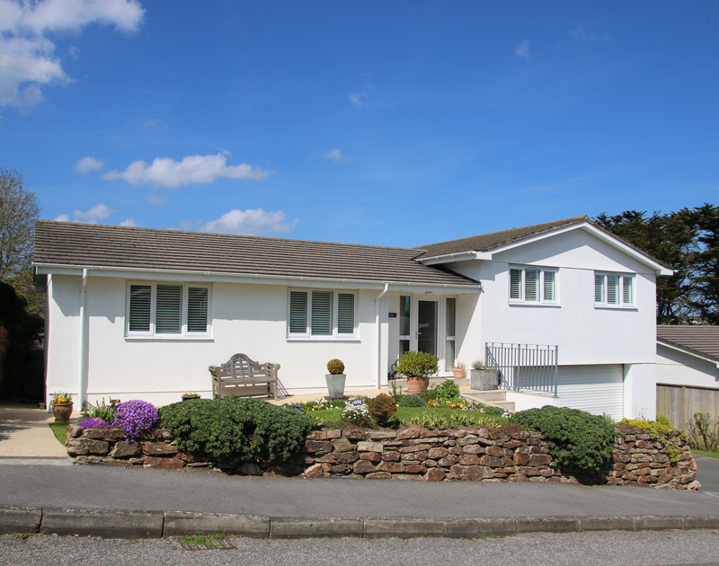 An external view of Trestar, a split level holiday home tucked away down a private road, minutes from Polzeath Beach.