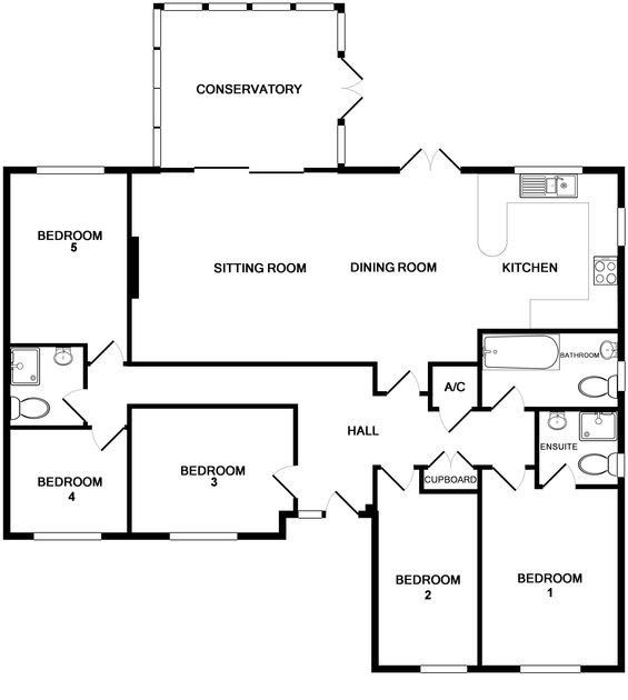 The ground floor plan for recently refurbished, detached, holiday bungalow Cogenhoe in Rock, Cornwall.