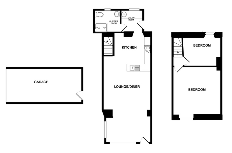 Floor plan of all rooms on the first floor at holiday house Beehive Cottage in Port Isaac, North Cornwall.