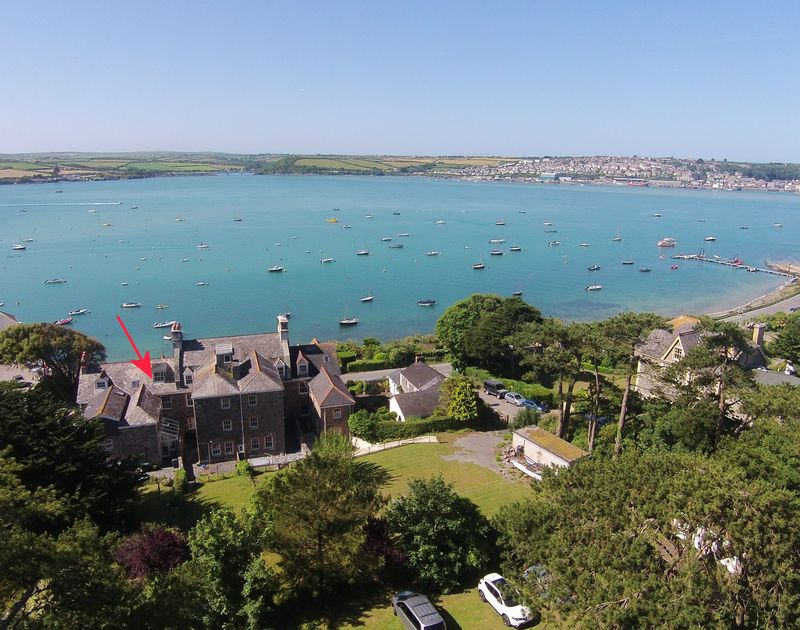 An aerial shot from the rear of 2 The Terrace with its gardens, an impressive Victorian terraced self-catering property right on the Rock Road overlooking the Camel estuary in North Cornwall