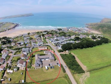 An aerial view showing the exact location of Polzeath Court on the North Cornish Coast, ringed in red.