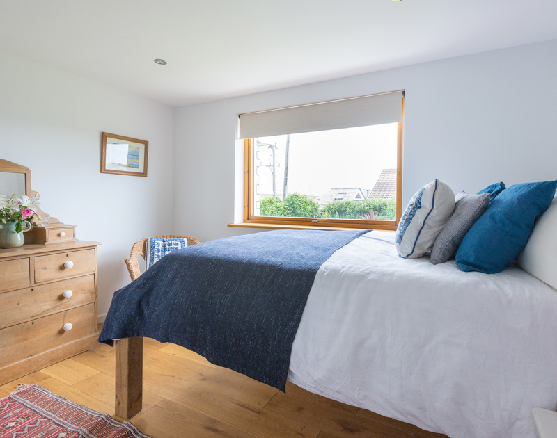 The double bedroom with 4ft 6 bed at south facing self catering holiday apartment Polzeath Court 1.