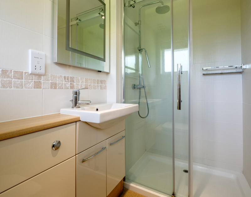 A shower enclosure in one of the three bathrooms at self catering, holiday home Trestar in Polzeath.
