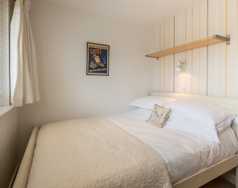 The compact double bedroom at self catering holiday house Trestar in Polzeath, North Cornwall.