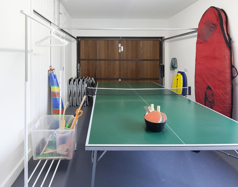 Head to the garage at Cherry trees in Rock, Cornwall for a game of table tennis or to store you beach and cycling equipment