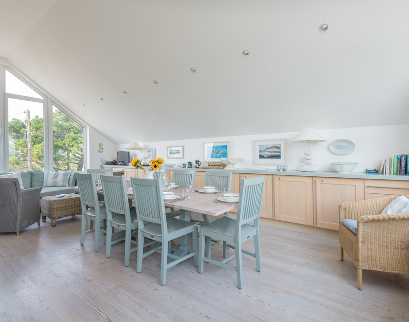 Plenty of natural Cornish light spilling through the windows into the open plan kitchen/dining room at The Point in Polzeath.