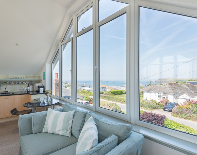 Magnificent views from the first floor living area at The Point, a holiday house in Polzeath, Cornwall