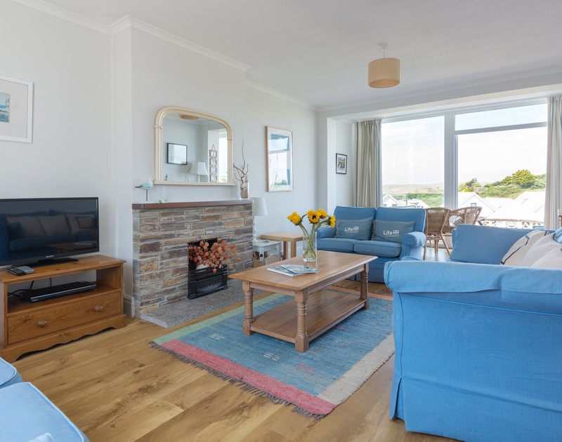 The stylish, well furnished sitting room at Treverbyn, a self-catering holiday house in Polzeath, Cornwall