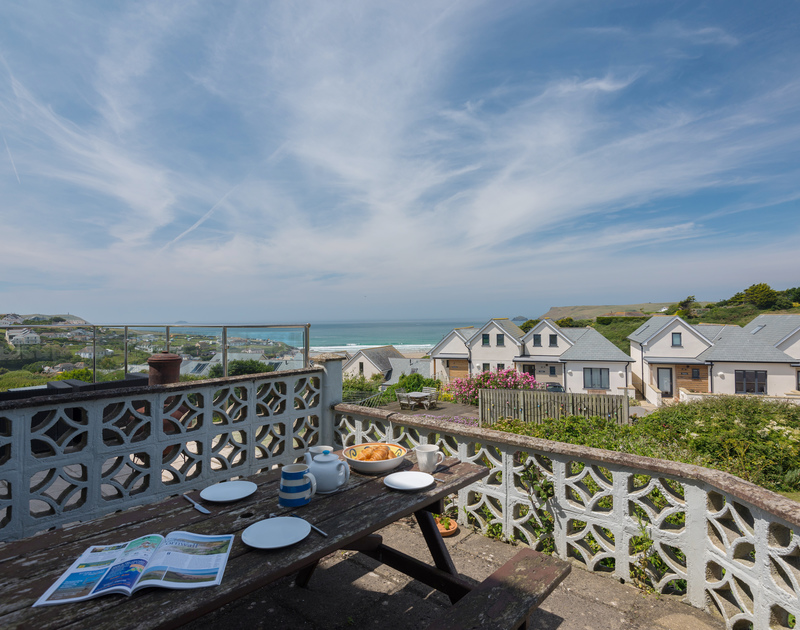 Sea views from Treverbyn, a self-catering holiday house in Polzeath, Cornwall, with Pentire Point in the distance.