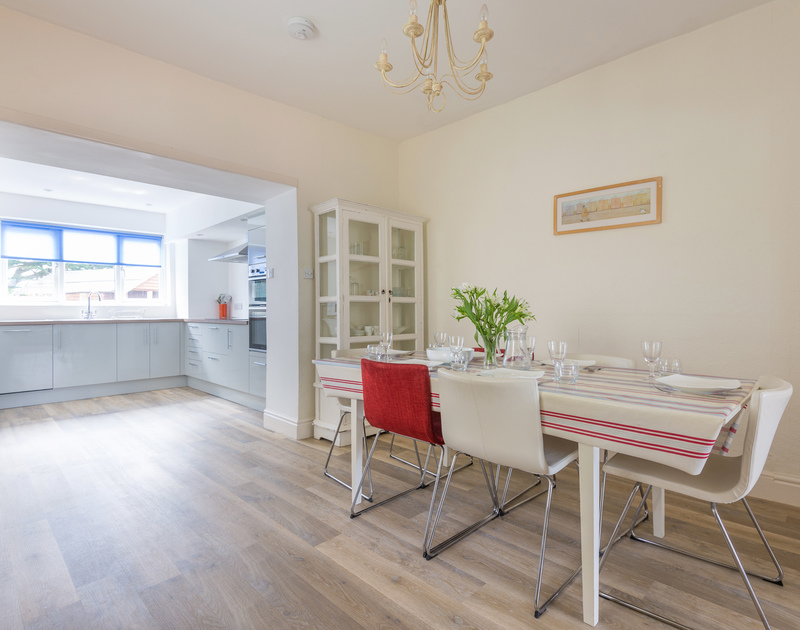 The spacious open plan kitchen/dining room at Musters, a holiday house to rent conveniently situated in the heart of Rock village.