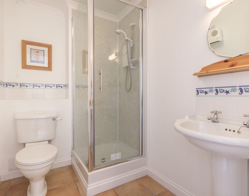 One of two bathrooms at self catering, holiday rental St Breock at Polzeath in north Cornwall.