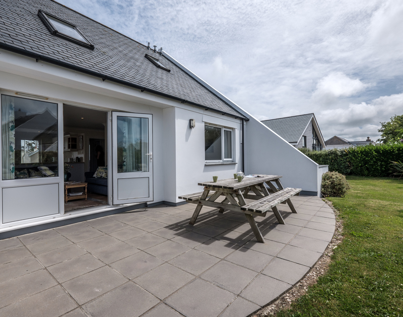 Enjoy alfresco meals on the terrace in the salty Cornish air at St Breock in Polzeath.