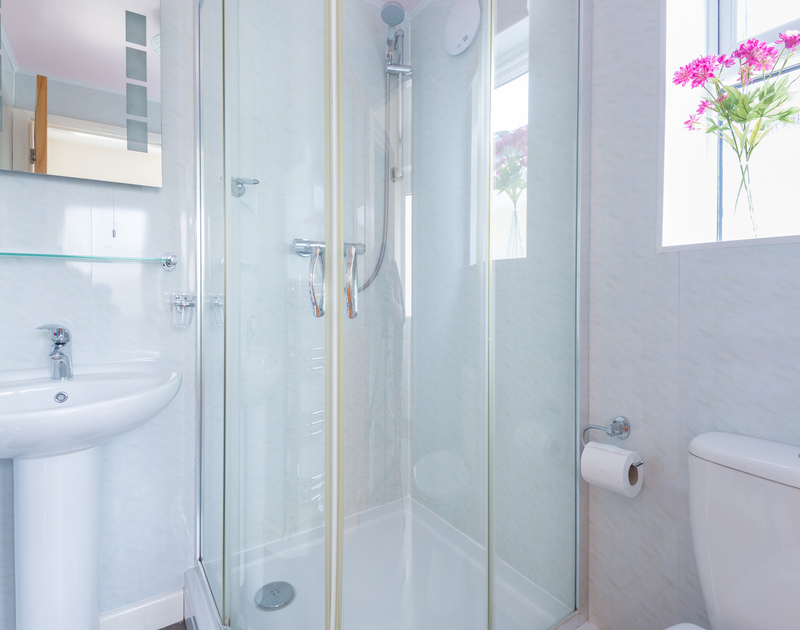 Shower room at Curlew, a self catering, holiday home to rent near Porthilly Cove in Rock, Cornwall.