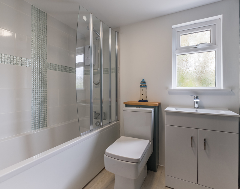 The modern bathroom at self catering holiday home Sea Reach in Polzeath, North Cornwall.