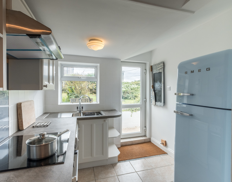 External door in the kitchen at self catering, holiday home Sea Reach in Polzeath, North Cornwall.