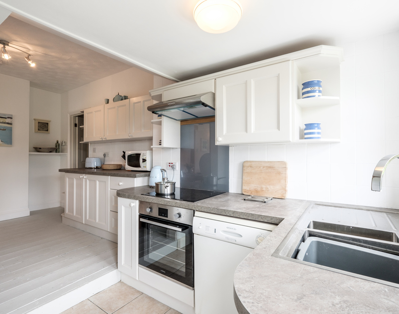 Well appointed kitchen at Sea Reach, a chalet style holiday home beside the beach and sea at Polzeath.