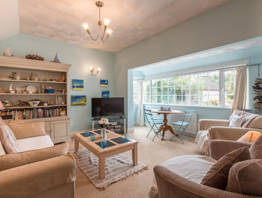 Homely sitting room at self catering Sea Reach, a chalet style holiday home a minutes walk from the beach at Polzeath.